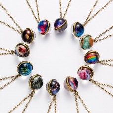 12 Colors Galaxy Double Sided Pendant Necklace Glow in the Dark Glass Ball Art Picture Universe Planet Jewelry Gift for Women Me