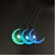 Moon Glowing Necklace Gem Charm Jewelry Silver Plated Women  Pendant Hollow Luminous Stone Pendant Necklace Gifts