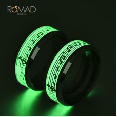 316 Titanium Stainless Steel Ring  Music Musical Note Glow In The Dark Rings For Men Women Cool Jewelry Gifts