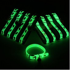 Adjustable Rubber Luminous Pet Puppy Dog Cat Collars With Bells Ball Random Color Collar For Pet In Halloween Xmas Accessories