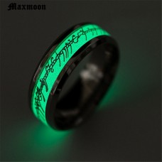 Maxmoon  Glow in the Dark Hobbit Lord of Ring for Men Wedding Luminous Ring Male Stainless Steel Wedding Band Ring