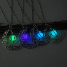 Moon Glowing Necklace Gem Charm Jewelry Silver Plated Women Halloween Hollow Moon Luminous Stone Pendant Necklace Christmas Gift
