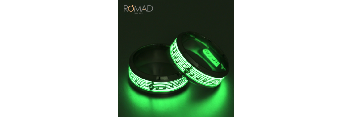 Titanium Stainless Steel Ring Music Musical Note Glow Ring